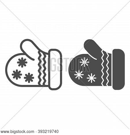 Winter Glove Line And Solid Icon, Christmas Concept, Knitted Mitten Sign On White Background, Mitten