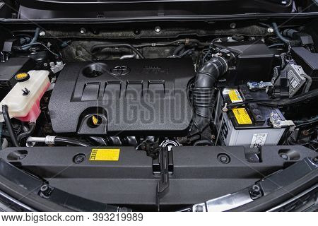 Novosibirsk, Russia - October 22, 2020: Toyota Rav-4,  Close Up Detail Of  Car Engine, Front View. I