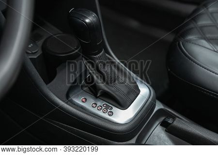 Novosibirsk, Russia - October 25, 2020: Volkswagen Polo,  Car Detailing. Automatic Transmission Leve