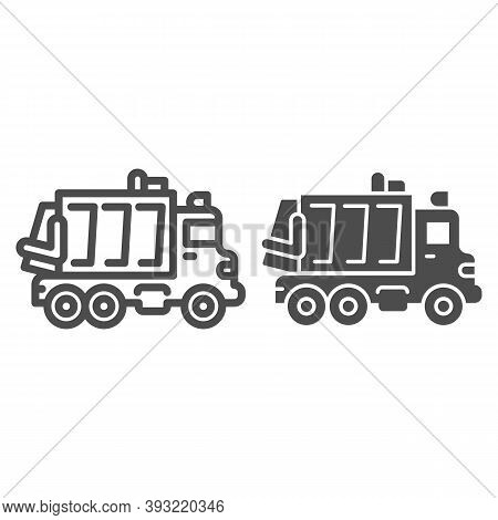 Garbage Truck Line And Solid Icon, Heavy Equipment Concept, Garbage Machinery Sign On White Backgrou