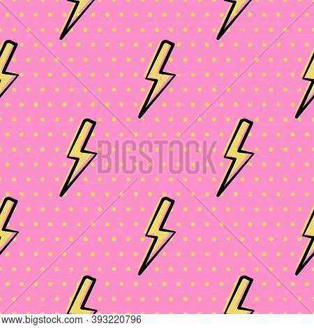 Flash Lightning And Polka Dot Seamless Pattern For Girl Power Style Background. Yellow Bolts And Dot