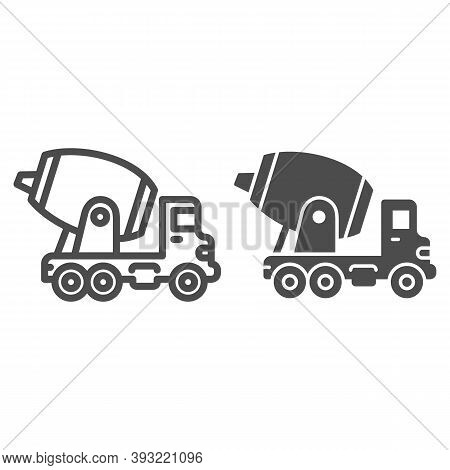 Concrete Mixing Truck Line And Solid Icon, Heavy Equipment Concept, Construction Machine Sign On Whi