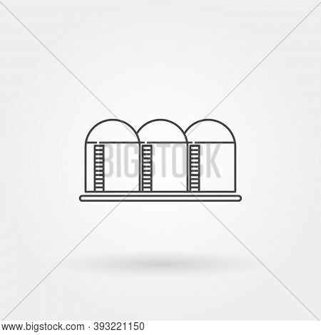Oil Refinery Single Isolated Icon With Modern Line Or Outline Style