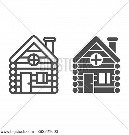 Old Wooden House Line And Solid Icon, Christmas Concept, Timbered And Wood Home Sign On White Backgr