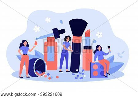 Women Using Makeup Tools And Testing Cosmetics In Beautician Parlor. Vector Illustration For Makeup