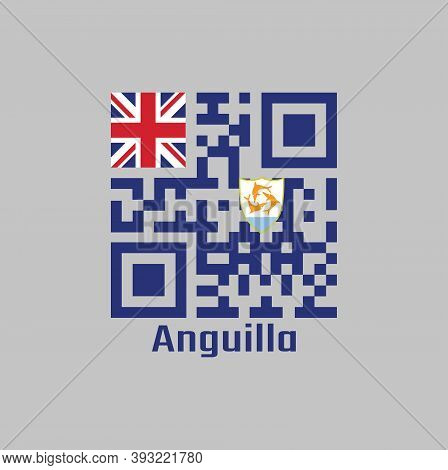 Qr Code Set The Color Of Anguilla Flag, Blue Ensign With The British Flag In The Canton, Charged Wit