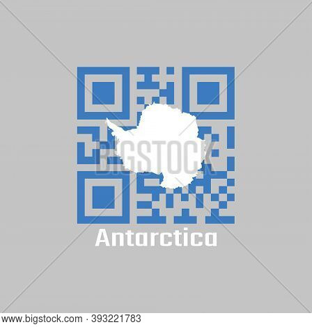 Qr Code Set The Color Of Antarctica Flag. A Plain White Map Of The Continent On A Blue Background. W