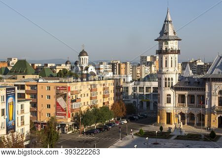 Buzau, Romania - August 11, 2017: Panorama Of The Romanian City Of Buzau.