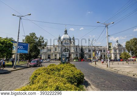 Lvov, Ukraine - August 12, 2017: Building Of The Railway Station In Lvov