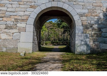 Passageway Through Stone Front Gate At Entrance To Geumsansa Temple In South Korea