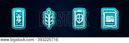 Set Line Smartphone With Bluetooth, Wheat, Shield And Sd Card. Glowing Neon Icon. Vector