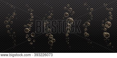 Gold Fizzy Bubbles. Sparkles Champagne. Fizzy Pop And Effervescent Drink. Abstract Fresh Soda And Ai