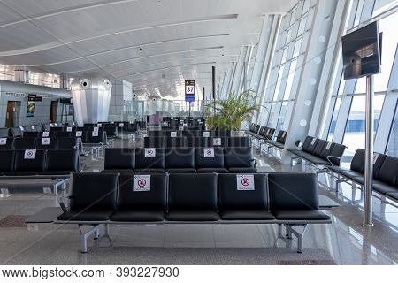 Hurghada, Egypt - October 3, 2020: Insight The Airport Terminal. The Airport Hurghada, Due To The Co