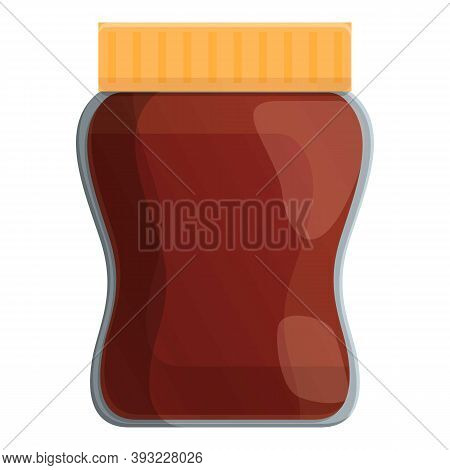 Chocolate Paste Jar Icon. Cartoon Of Chocolate Paste Jar Vector Icon For Web Design Isolated On Whit