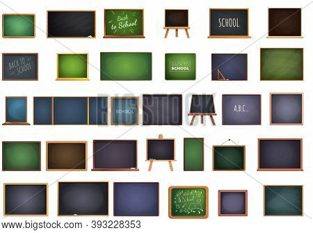 School Chalkboard Icons Set. Cartoon Set Of School Chalkboard Vector Icons For Web Design