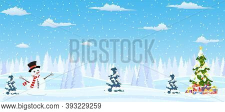 Christmas Landscape Background Withwith Christmas Tree With Gifbox And Snowman. Merry Christmas Holi