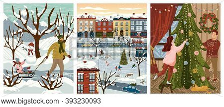 Winter And Christmas Season Family Holidays. Vector Illustration Of A Family Decorating Christmas Tr