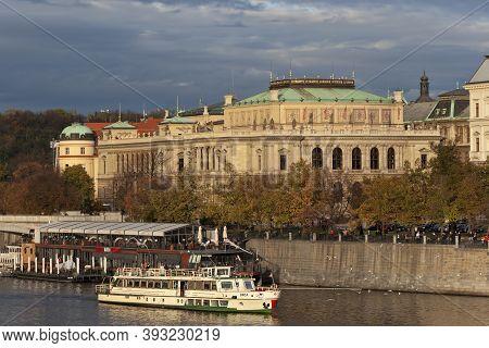 Prague, Czech Republic - November 3, 2012: Pier Near Rudolfinum (prague Philharmonic) - The Main Mus