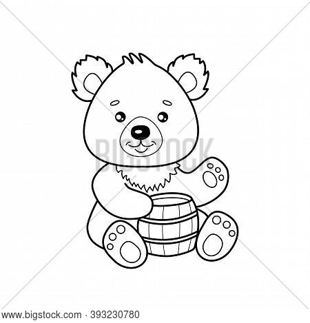 Cute Cartoon Bear With A Keg Of Honey For Coloring Page Or Book. Outline Of Little Bruin Isolated On