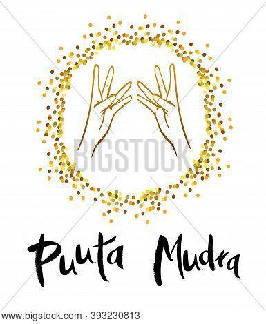 Vector Illustration Of Puuta Mudra. Slimming Mudra. Mudra Cleans Emotional And Energetic Debris.