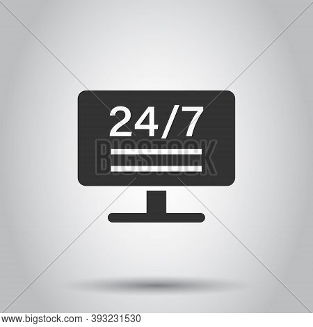 24 7 Computer Icon In Flat Style. All Day Service Vector Illustration On White Isolated Background.