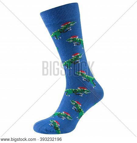 One Blue Sock With A Pattern Of Many Green Dinosaurs Wearing A Santa Claus Hat, On A White Backgroun