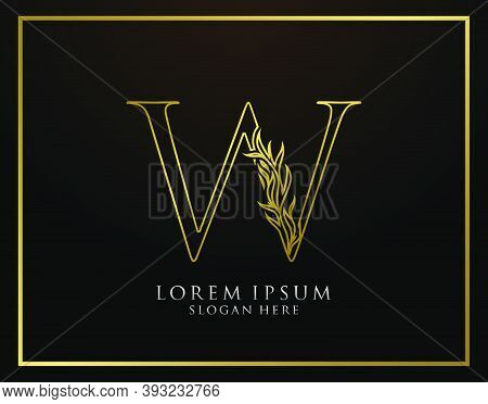 Graceful W Letter Icon. Luxury Gold Alphabet Arts Logo. Vintage Drawn Emblem For Book Design, Brand