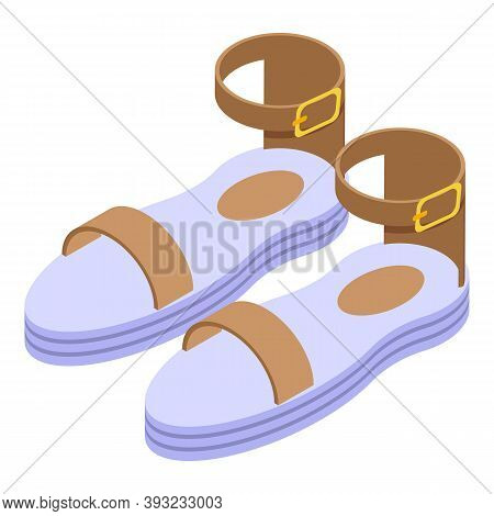 Fashion Sandals Icon. Isometric Of Fashion Sandals Vector Icon For Web Design Isolated On White Back
