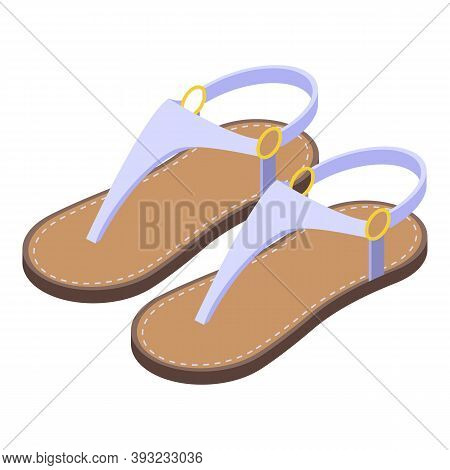 Girl Sandals Icon. Isometric Of Girl Sandals Vector Icon For Web Design Isolated On White Background