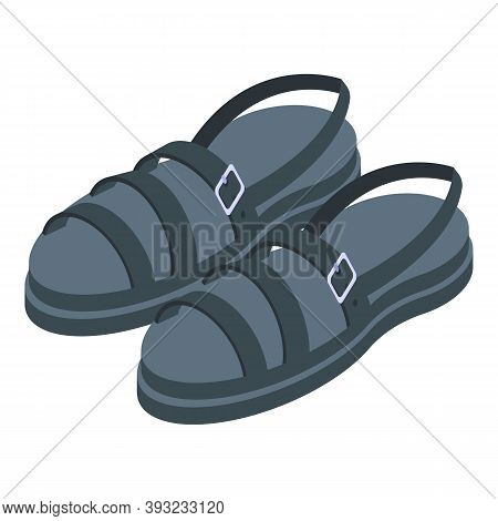 Black Color Sandals Icon. Isometric Of Black Color Sandals Vector Icon For Web Design Isolated On Wh