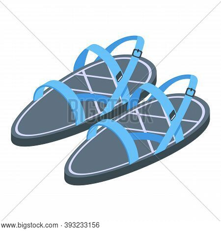 Kid Small Sandals Icon. Isometric Of Kid Small Sandals Vector Icon For Web Design Isolated On White