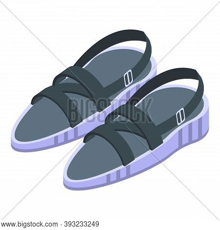 Summer Sandals Icon. Isometric Of Summer Sandals Vector Icon For Web Design Isolated On White Backgr