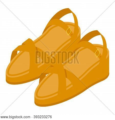 Woman Leather Sandals Icon. Isometric Of Woman Leather Sandals Vector Icon For Web Design Isolated O
