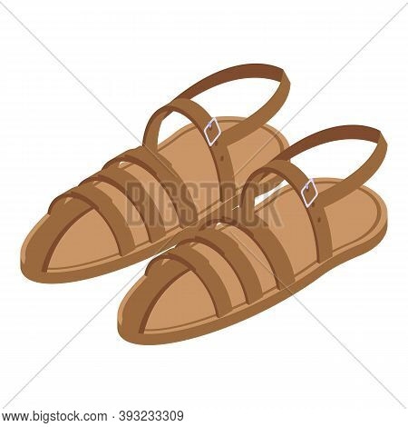 Retro Sandals Icon. Isometric Of Retro Sandals Vector Icon For Web Design Isolated On White Backgrou