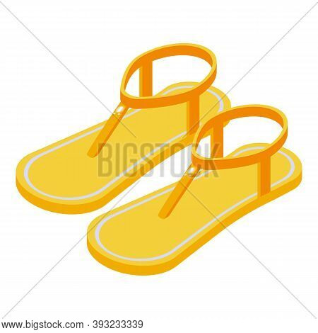 Light Sandals Icon. Isometric Of Light Sandals Vector Icon For Web Design Isolated On White Backgrou