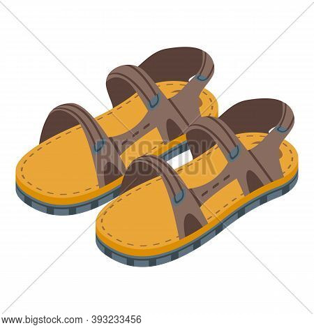 Kid Hand Made Sandals Icon. Isometric Of Kid Hand Made Sandals Vector Icon For Web Design Isolated O