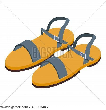 Walking Sandals Icon. Isometric Of Walking Sandals Vector Icon For Web Design Isolated On White Back
