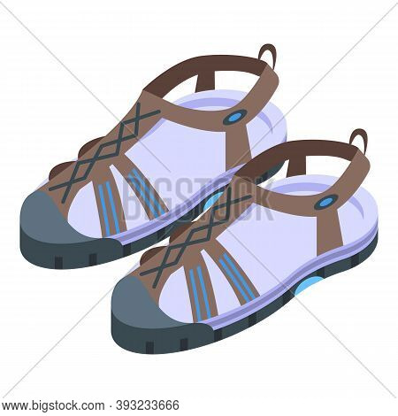 Water Sandals Icon. Isometric Of Water Sandals Vector Icon For Web Design Isolated On White Backgrou