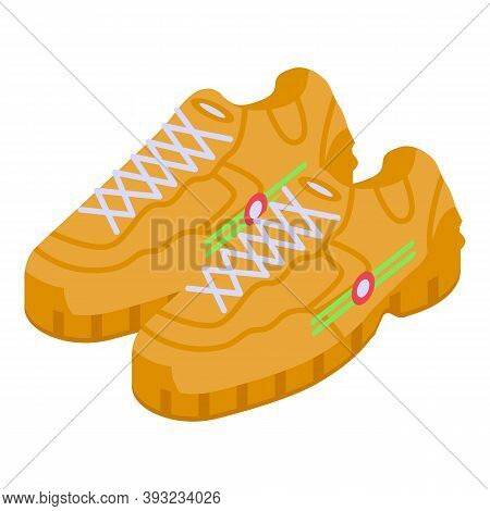 Leather Sneakers Icon. Isometric Of Leather Sneakers Vector Icon For Web Design Isolated On White Ba