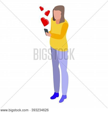 Girl Online Dating Icon. Isometric Of Girl Online Dating Vector Icon For Web Design Isolated On Whit