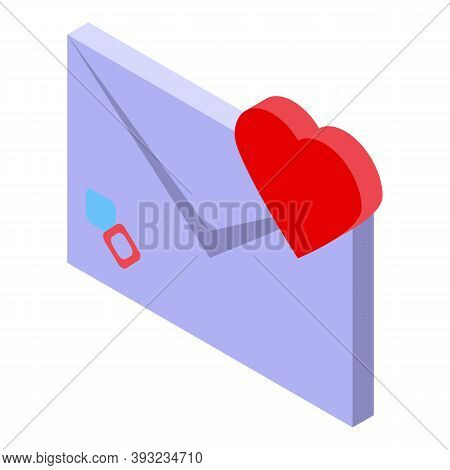 Online Dating Love Letter Icon. Isometric Of Online Dating Love Letter Vector Icon For Web Design Is
