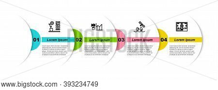 Set Line Flower Status, Statistics, Smart Farm With Drone And Farming Technology. Business Infograph