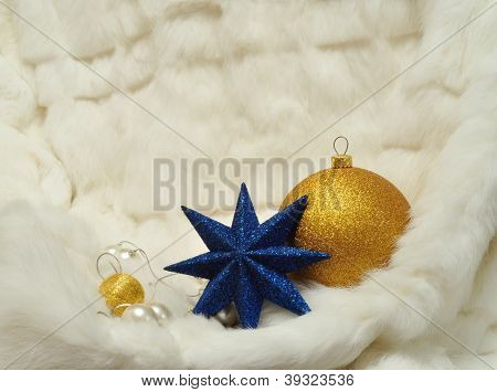 Christmas Decorations - Star, Balls And Pearls On White Fur