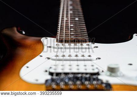 Electric Guitar. Close Up Of Music Guitar. Stringed Electric Musical Instrument. Musical Instrument
