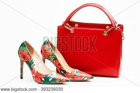 Ladies Bag And Stylish Red Shoes. Colorful Leather Shoes Stiletto. Stylish Classic Women Leather Sho