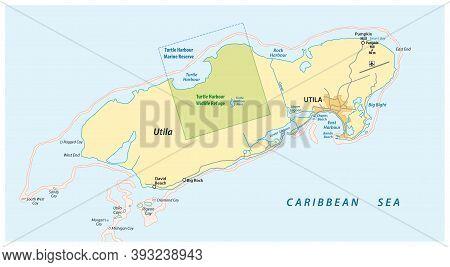 Vector Map Of The Honduran Caribbean Island Of Utila, Honduras