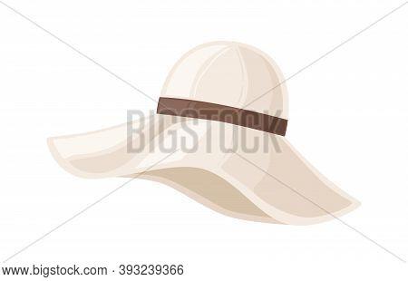 Woman Floppy Hat With Wide Brim Decorated With Ribbon. Elegant Female Felt Headwear. Retro Headwear