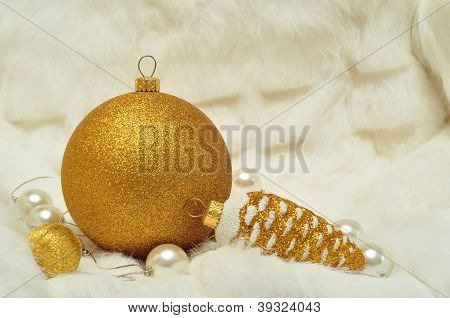 Christmas decorations in gold and white colors