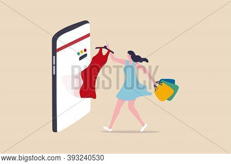 Online Shopping E-commerce Or Buy And Purchasing Products Through Computer Website And Mobile App Co