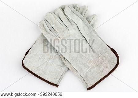 Welding Gloves, Welding Equipment, Gloves On A White Background, Protective Clothing.